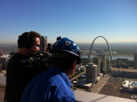 st louis videographer taping the Arch and nearby construction updates